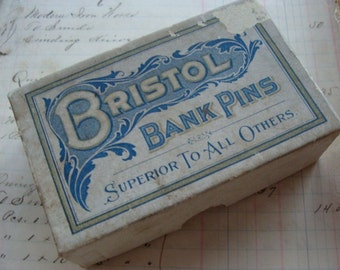 Antique Sewing Box of Bristol Bank Pins Dressmaker Pins