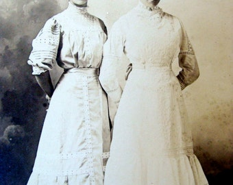 Antique Edwardian Stunning Cabinet Photo Very Victorian  Sisters