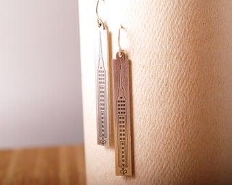 Slim Skyscrapers Sterling Etched earrings