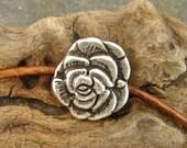 Rose - Unique  Metal Shank Button - 2 Pieces - Perfect For Leather Wrap Bracelets (B29)