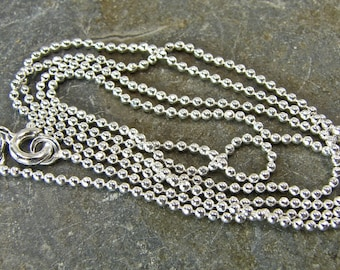 Polished Shiny Sterling Silver 1.5 MM Diamond Cut Ball Chain - 18 Inch With Clasp - One - 1.5dc18p