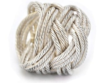 Knot Ring | Woven silver ring | Twisted silver wire | Turks Head Collection  | High fashion | Starement ring | Handmade in Israel.