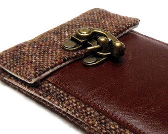 iPhone 5 / 6 / 6 Plus wallet  - brown tweed and brown leather
