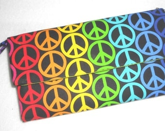 Rainbow Peace Wallet / Wristlet / Cell Phone / Check Book