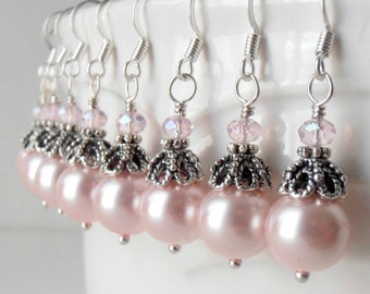 Bridesmaid Jewelry Pink Pearl Dangle Earrings in Antiqued Silver Vintage Style Beaded Drops Bridal Party Jewelry Bridesmaid Gift Guinevere