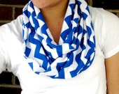 Blue and White Chevron Infinity Scarf Soft Jersey