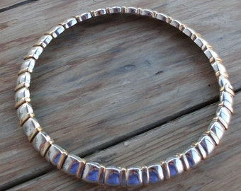 True Choker Mid Century Silver and Gold Tone Heavy Metal Necklace