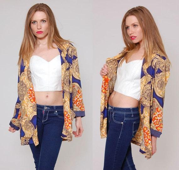 Vintage 80s BAROQUE Blazer Blue Floral COLOR BLOCK Jacket