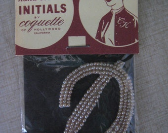 50s Sew On Imitation PEARL Applique INITIAL  D  1950s Dead Stock New Old  Japan