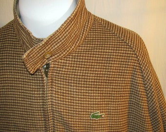 Rare Vintage Reversible IZOD LACOSTE Gator Tan Twill Herringbone Jacket XL