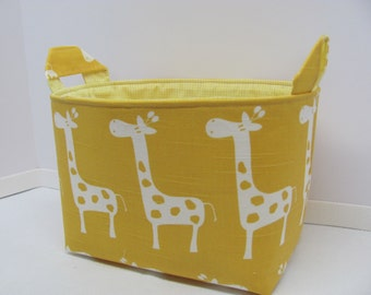 LARGE Fabric Organizer Basket Storage Container Bin - Size Large - Yellow Giraffes