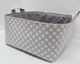 Fabric Diaper Caddy - Storage Container Basket - Organizer Bin - Tote Bag - Bucket - Baby Gift - Nursery - Grey/White dots