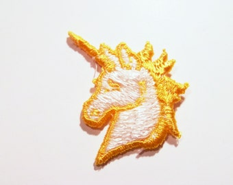 Vintage Yellow White Unicorn Embroidered Applique Patch for Clothing 1980s cute animal kitsch retro