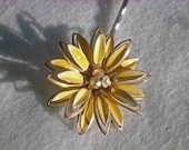 Daisy Yellow Flower Rhinestone Earring Hair Pin -SALE