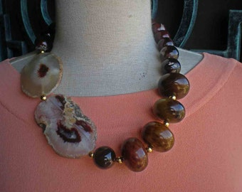 Geo - Natural Stone Necklace -  Brown Agate