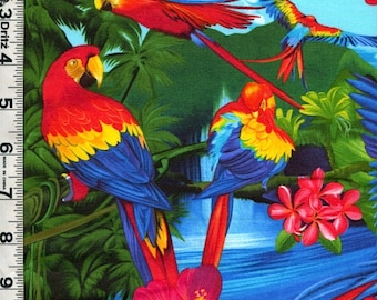 Fabric Timeless Tropical Island Birds flowers  MACAWS PARROTS plumeria hibiscus flower designer Michael Searle