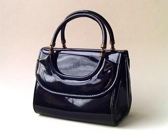 60s vintage Mod Petite Black Patent Vinyl Handbag / Delicato by Markay Bags