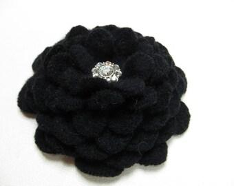 "Star Light Star Bright - Cashmere Flower Brooch in BLACK with Rhinestone ""Star"" Button Center"
