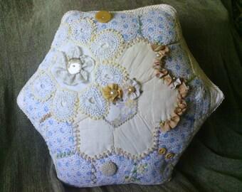 Blue Beige Golden Hexagon Crazy Quilt Pillow