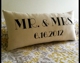 Mr. & Mrs. Pillow with Wedding Date- Customizable