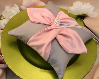 Knottie Ring Bearer Pillow with Rhinestone Accent...You Choose the Colors....Buy One Get One HALF OFF..shown in silver gray/light pink
