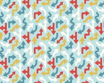 SUMMER SALE - Cruiser Blvd - Arrows in Blue - 1 Yard - Sku C3222 - by Sherri McCulley for Riley Blake Designs