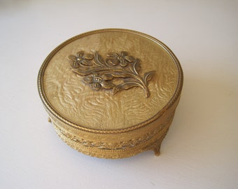 Vintage Dresser Box Vanity Box Jar Filigree Metal Gold Floral Mid Century Powder Box Jewelry Casket
