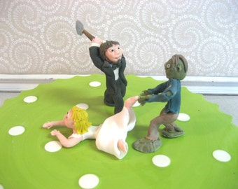 ZOMBIE Wedding Cake Topper - Custom Made to Order Bride and Groom