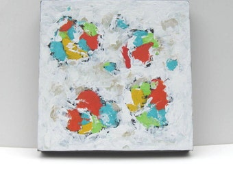 """White Abstract Original Acrylic Painting on canvas, Abstract Wall Art, Turquoise and orange, 12"""" x 12"""",Modern Home decor, gift idea"""