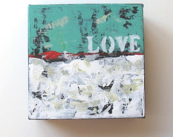 """SALE, Turquoise Original Acrylic Abstract Expressionist Painting """"Love"""" by Brooke Howie"""