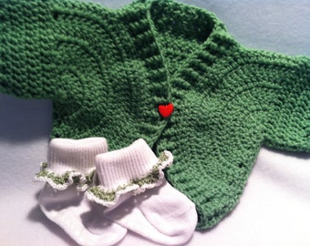 Baby Sweater Green St Patrick's Day Spring Easter strawberry