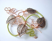 Nouveau Vines Copper Brooch Pin/ Hair Barrette - wirework - vintage  --  by ChatElaine SRAJD