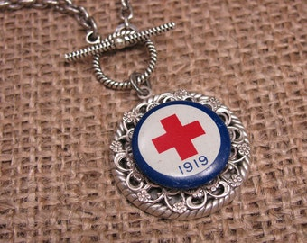 Upcycled Jewelry - Authentic American Red Cross 1919 Pinback Converted into Stylish Toggle Medallion Necklace