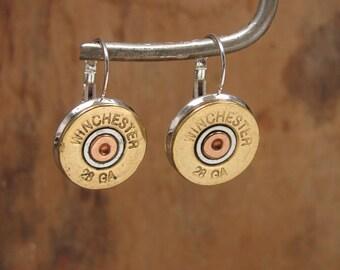 Shotgun Casing Jewelry - Winchester 28 Gauge Silver Leverback Earrings