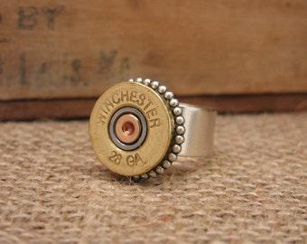 Shotgun Casing Jewelry - Brass Winchester 28 Gauge Shotgun Casing Statement Ring