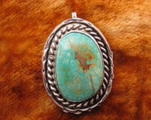 Pendant - Sterling Silver - Large Turquoise Pendant - Native American - Southwestern Jewelry - Oval Shape Stone - Collectible