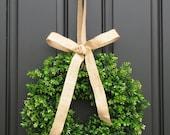 Spring Decor - Burlap Bow - Boxwood Wreath - Door Wreaths