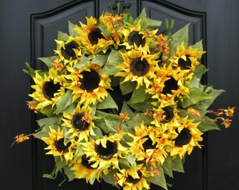 Sunflower Wreath, Sunflower Bouquet,Summer Celebration,Door Wreath, Shabby Chic Decor, Country French, Mother's Day Gifts