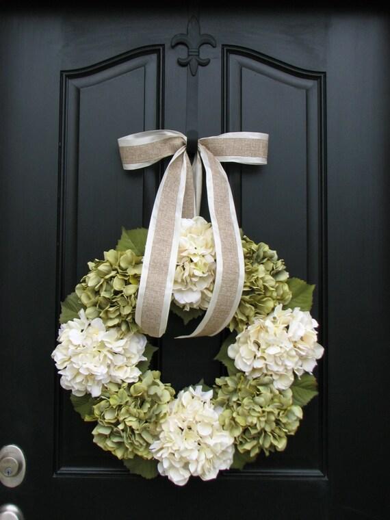 Spring Wreaths, Spring Hydrangea Wreath, Wreaths, Hydrangea Wreaths, Wreaths for All Seasons, Wedding Decorations, Decor WREATHS
