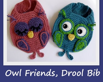 Crochet pattern Baby Bib Owl Burp Drool Bib crochet bib pattern owl pattern for Boy Girl INSTANT pdf DOWNLOAD BONUS Frog Hat pattern