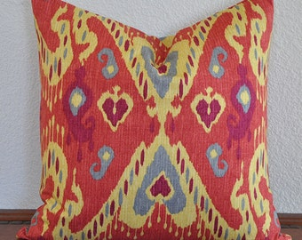 Decorative Ikat Pillow Cover 18x18 inches Red Orange Yellow and Aqua