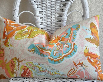 Decorative Pillow Cover 12x20 inches Sinister Swarm in Peach, Pink and Stripe Back