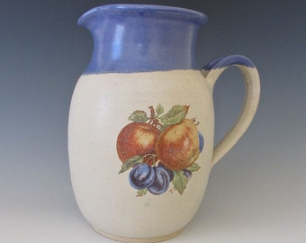 Vintage Style Pitcher. Apples, Plums, Foliage.  Cornflower Blue, Creamy White,Terracotta, Saffron, Purple, Green, Light Brown