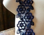 Midnight Blue Beaded Lace Trim Faux Pearls for Bridal, Garments, Costume Design BL 4001