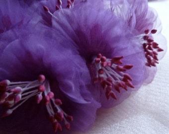 Violet Flower YoYos Organza Millinery for Bridal, Headbands, Fascinators, Floral Supply MF 86