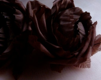 Chocolate Brown ROSE Silk Cupped Millinery Flower for Bridal,  Bouquets, Hats MF 132