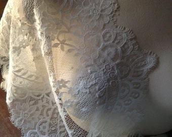 Ivory Eyelash Chantilly Lace Wider for Mantilla Veils, Lace Caps, Shawls, Gowns, Lingerie CH 3