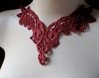 Lace Applique in Deep Red for Jewelry Supply, Garments,  Costume Design CA 122