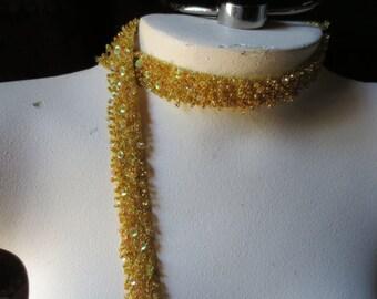 "GOLD Beaded Trim 18""  for Lyrical Dance, Bridal, Headbands, Straps"