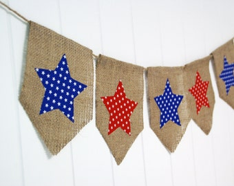 Shabby Patriotic Star Bunting - red, white and blue by speckleddog on Etsy - tt team, avidteam